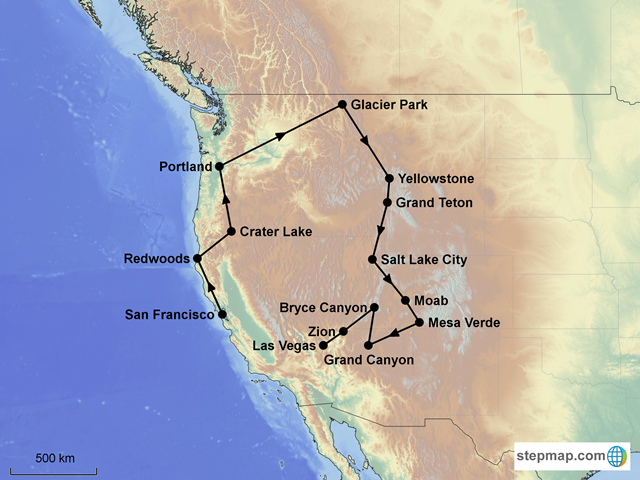 map of western us with national parks